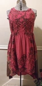 EUC Free People Red/Brown Floral Lace Back Dress